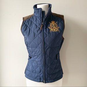 Ralph Lauren Sport Navy Quilted Vest Size Medium